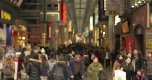 Tourists shop downtown in Namba, Japan Footage