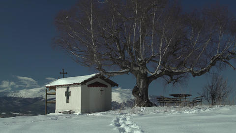Footsteps in the Snow Mountain Church Tree 4K Footage