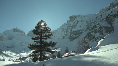 Big Pine Snowy Mountain Peaks 4K stock footage