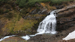 Mountain Landscape: View Of Picturesque Waterfall In Autumn stock footage
