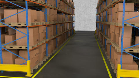 Interior of warehouse. Rows of shelves with boxes Animation