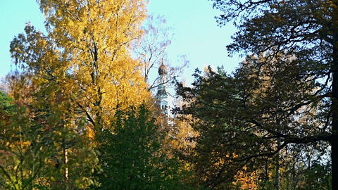 Autumn landscape with church Footage