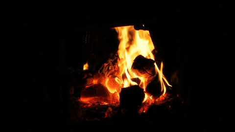 Fire and Burning coals in a stove Footage