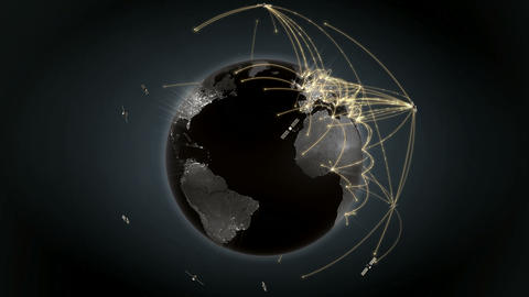 Growing global network. Internet concept. Satellites. Orange version. 4K Animation