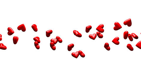Red Hearts On White Background CG動画