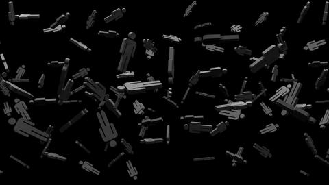 Black Human Shaped Objects On Black Background Animation