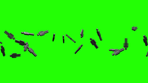 Black Human Shaped Objects On Green Chroma Key Animation