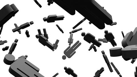 Black Human Shaped Objects On White Background Animation