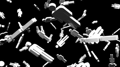 Human Shaped Objects On Black Background Animation