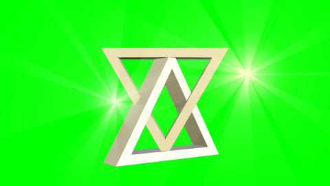 David star, jewish symbol, animation of two moving 3d triangles and point light  画像