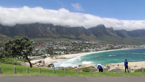 Panoramic high angle view of Cape Town and the mountains surrounding it Live Action