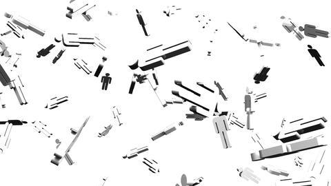 Human Shaped Objects On White Background Animation