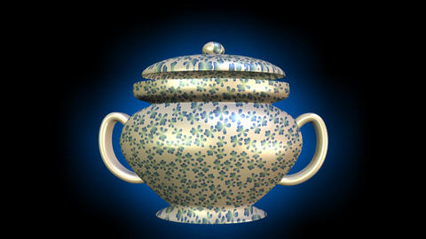 3d antiguarian china sugar bowl with vintage flower patterns and lid, rotating o Animación