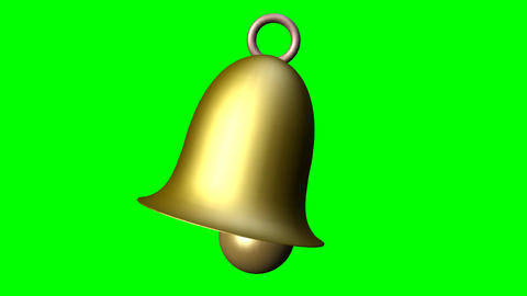 Cute small brass or golden bell in motion, Christmas symbol, fairy tale element, Animation
