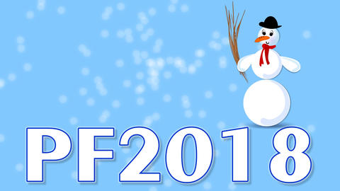 New year 2018 blue video with blurry frost sparks, slow moving snowman cartoon,  Animación