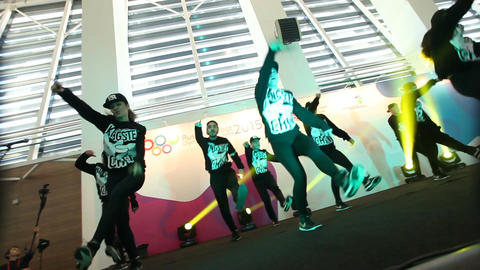 Bottom View Hip-hop Teenager Team Shows Performance Footage
