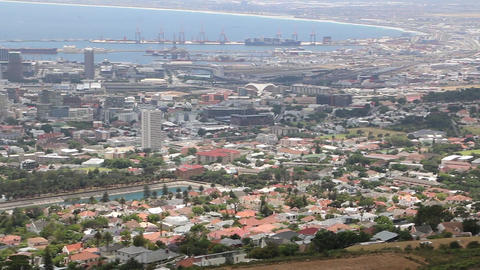 Panoramic high angle view of Cape Town and the mountains surrounding it Image