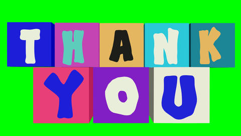 Thank you grunge banner with falling and rotating multicolored cubes, letters in Animation