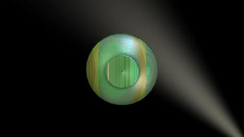 3d object artistically decorated glass with golden and green texture rotating on Animation