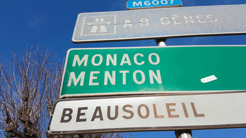 French Road Signs on the French Riviera Footage