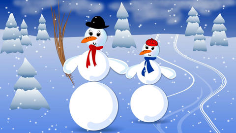 Big snowman and his child in landscape with snowfall. Animated illustration for  Animación
