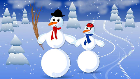 Big snowman and his child in landscape with snowfall.... Stock Video Footage