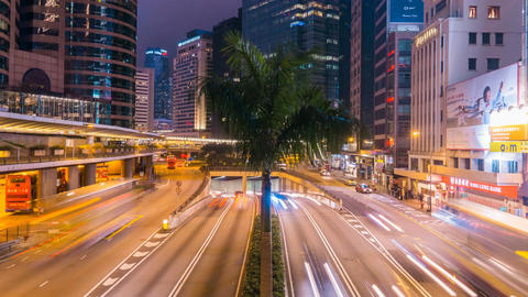Traffic road in Hong Kong city at night time lapse 4k Footage