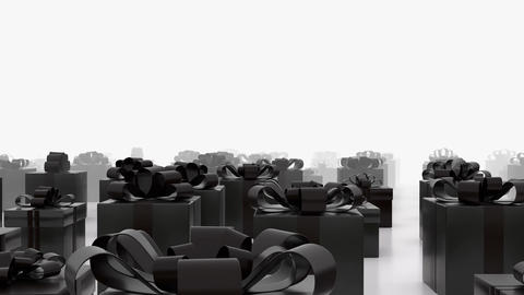 Endless moving black gift boxes towards camera. (loop ready) Footage