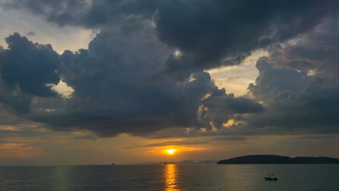 4k Time lapse footage of beautiful sunset with dramatic clouds over seascape wit Footage