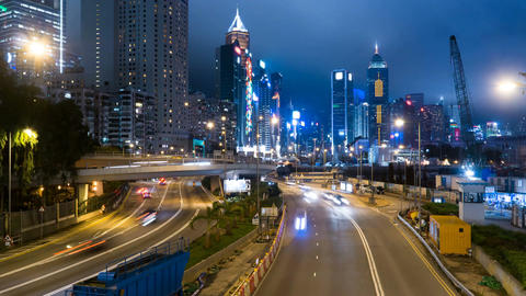 Modern asian city heavy traffic street highway at night 4k time lapse. Glouceste Footage