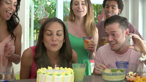 Group Of Friends Celebrating Birthday At Home Footage