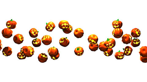 Jack-O-Lanterns On White Background Animation