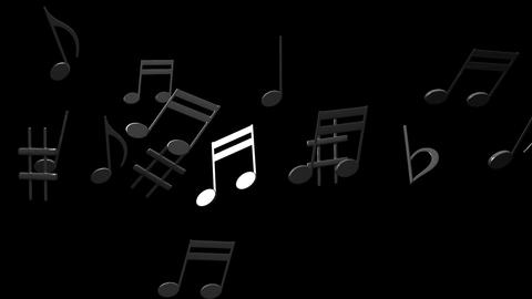 Black Musical Notes On Black Background Animation