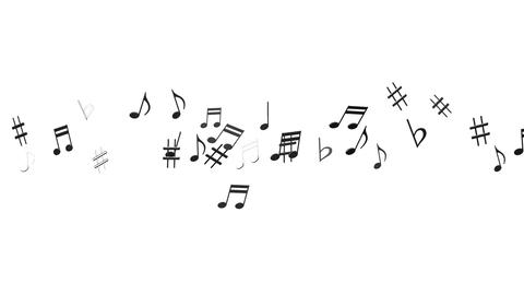 Black Musical Notes On White Background Animation