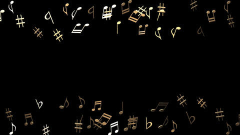 Brass Musical Notes On Black Background Animation