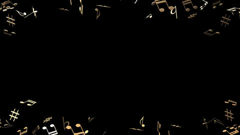 Brass Musical Notes On Black Background Stock Video Footage