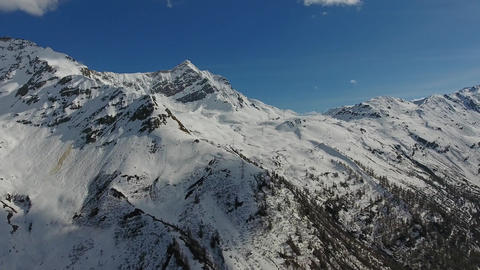 Aerial view on snow mountains in Switzerland alps Footage