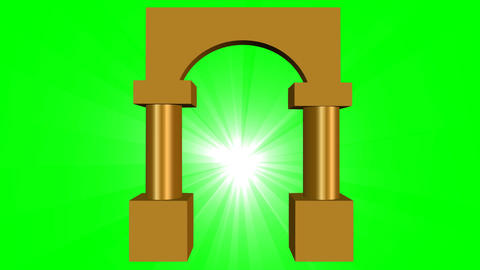 Golden gate with light, 3d animation on green screen, symbole of future or etern Animation