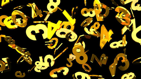 Gold Numbers On Black Background CG動画