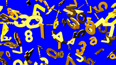 Gold Numbers On Blue Chroma Key CG動画