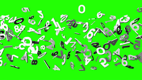 White Numbers On Green Chroma Key CG動画