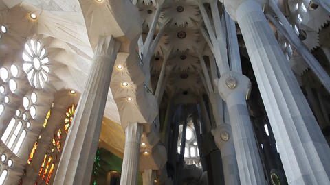 Indoors of temple of Sagrada Familia Stock Video Footage