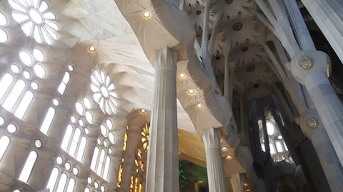 Indoors of temple of Sagrada Familia Footage