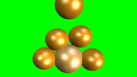 Golden spheres falling and building a pyramid, group collapse, merging of remain Animation