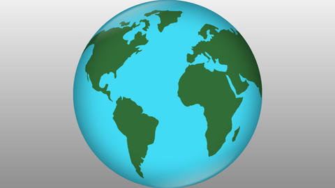 Stylized earth blue with green continents rotating on grey gradient background,  Animation