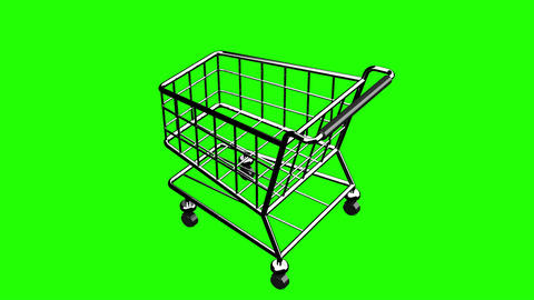 Rotated Shopping Cart On Green Chroma Key Animation