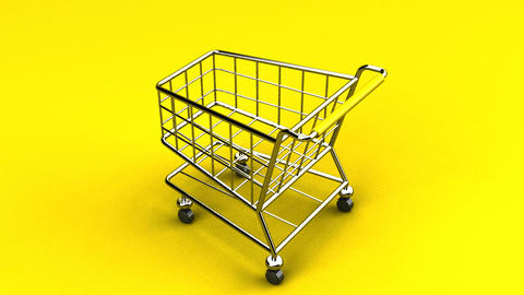 Rotated Shopping Cart On Yellow Background Animation