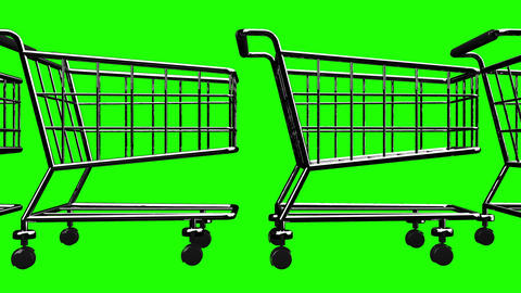Many Shopping Carts On Green Chroma Key Animation