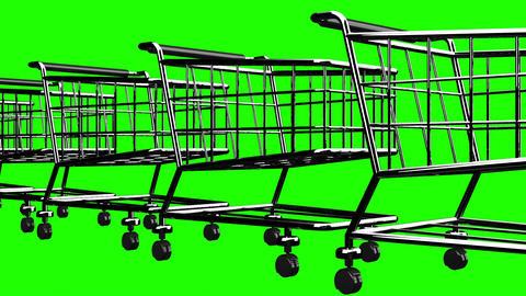 Many Shopping Carts On Green Chroma Key Animation