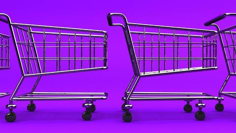 Many Shopping Carts On Purple Background Animation